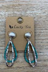 Jewelry Silver Ovals Teal Teardrop Earrings