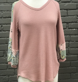 Long Sleeve Marcy Waffle Knit Top W/ Floral Contrast