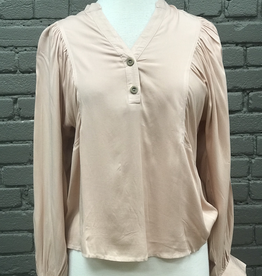 Long Sleeve Jasmine V-Neck Button Down W/ Puff Sleeves