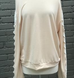 Long Sleeve Leah Lace Trimmed Sweatshirt