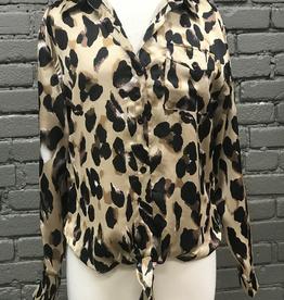 Long Sleeve Sophia Satin Leopard Tie Front Long Sleeve