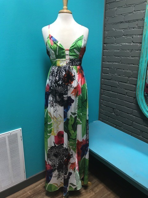 Dress Multi Rose Print Maxi Dress