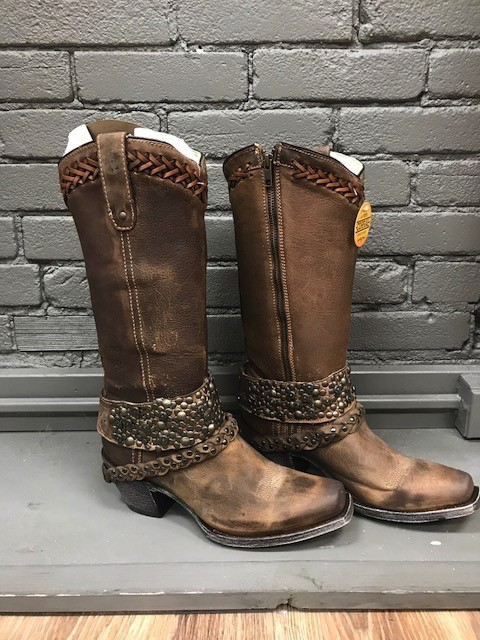 Boot Brown Woven Studs Harness Boots