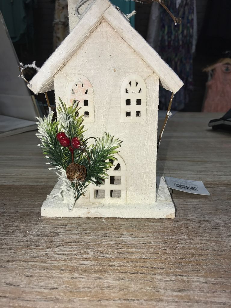 Decor White Wood Birdhouse