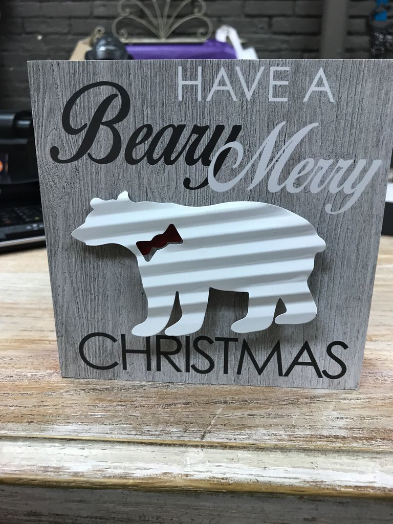 Decor Christmas Block w/ Metal Sign
