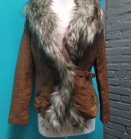 Jacket Leather Jacket w/ Faux Fur Trim