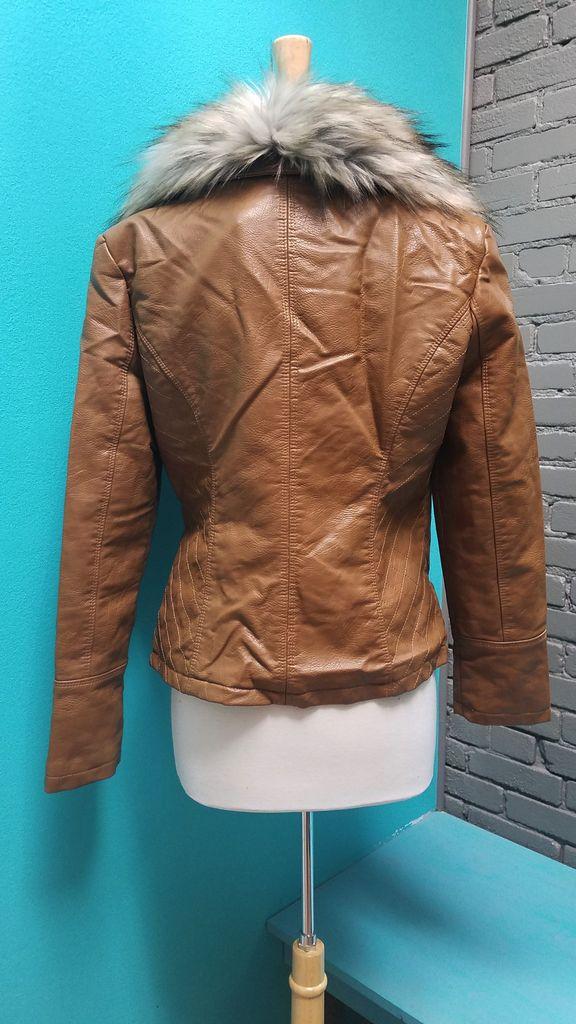 Jacket Leather Jacket w/ Faux Fur Trim