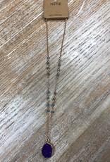 Jewelry Purple Druzy Gold Necklace