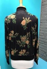 Jacket Black Floral Zip Jacket