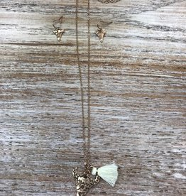 Jewelry Gold Etched Bull Necklace w/ Earrings