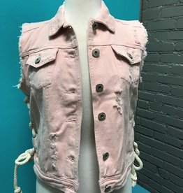 Vest Pink Distressed Denim Vest