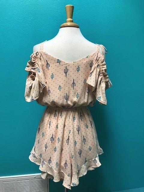 Dress Boho Cactus Romper w/ Ruffles