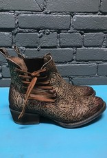 Boot Brown Engraved & Laced Side Ankle Boot