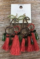 Jewelry Rhinestone Cherry Tassel Earrings