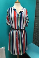Dress Multi Stripe Waist Tie Dress