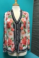 Shirt Floral Button Open Arm Shirt
