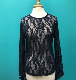 Blouse Sheer Floral Lace LS w/ Bell Sleeves