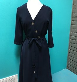 Dress Navy Front Button Tie Dress