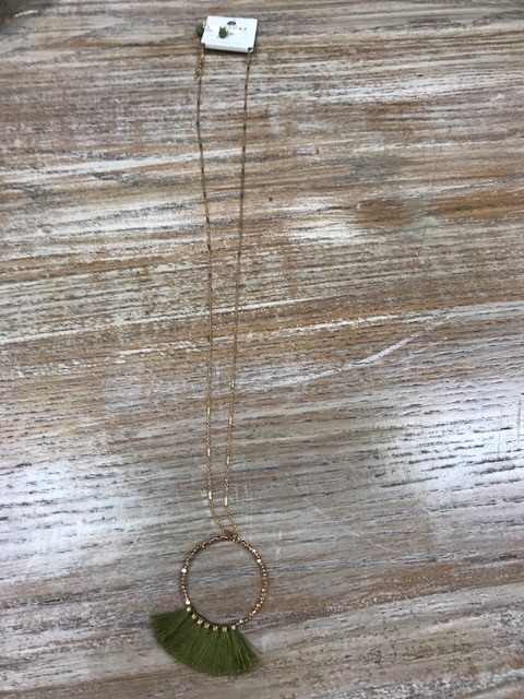 Jewelry Long Olive Fringe Necklace Earrings
