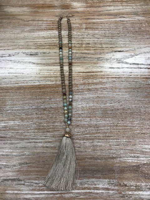 Jewelry Natural Stone Necklace w/ Tassel