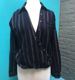 Shirt Navy Stripe LS Button Shirt