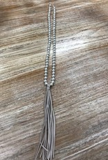 Jewelry Pearl/Suede Fringe Necklace