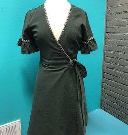 Dress Olive Stitched Tie Dress