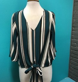 Top Teal Stripe VNeck Tie Top