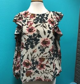 Long Sleeve Ivory Floral Cold Shoulder LS
