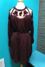 Dress Wine Embroid Lace Dress