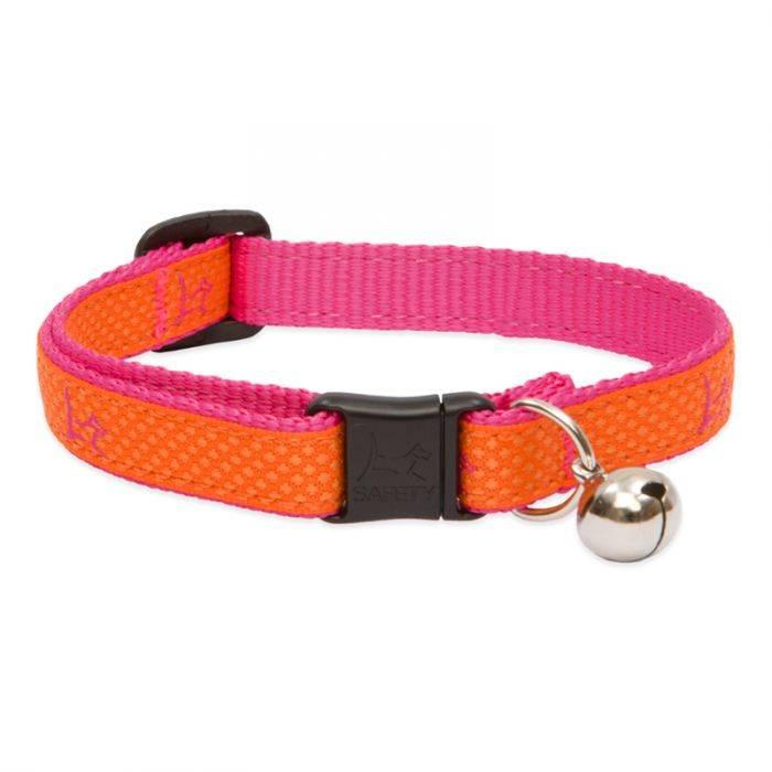 "Lupine Lupine Club - Sunset Orange - Cat Collar With Bell 8-12"""