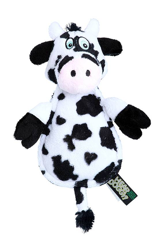 Hear Doggy Hear Doggy Silent Squeaker Flatties Cow with Chew Guard Dog Toy