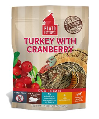 Plato Plato Pet Treats Turkey with Cranberry, 12 oz bag