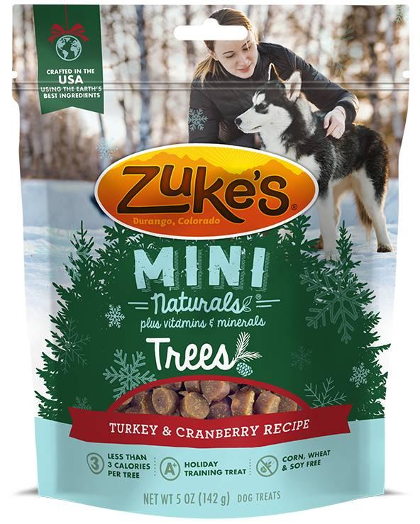 Zuke's Zukes Mini Naturals Trees, Turkey & Cranberry, 5 oz bag