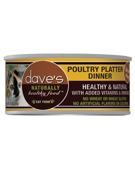 Dave's Dave's Naturally Healthy Poultry Platter Cat Can Food, 5.5 oz can
