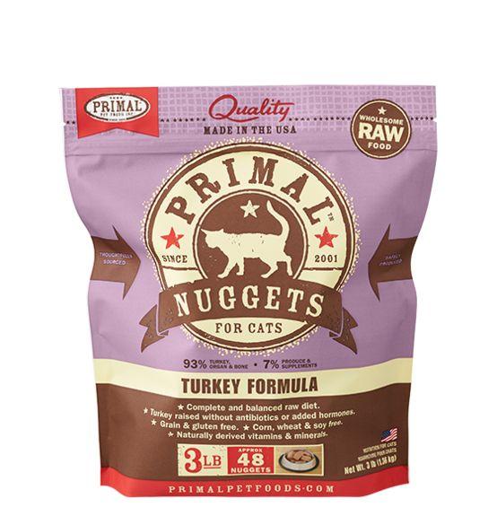 Primal Primal Frozen Cat Food, Turkey, 3 lb bag