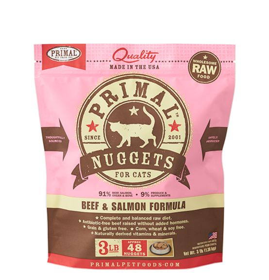 Primal Primal Frozen Cat Food, Beef & Salmon, 3 lb bag