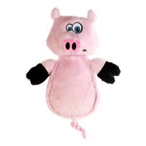 Hear Doggy Hear Doggy - Flatties Pig with Silent Squeaker & Chew Guard Technology, Pink, 12""