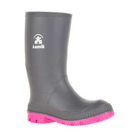 Kamik Charcoal/Magenta Stomp Style Rubber Rain Boots by Kamik