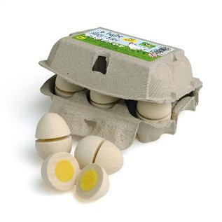 Erzi Half Dozen Wooden Eggs to Cut by Erzi