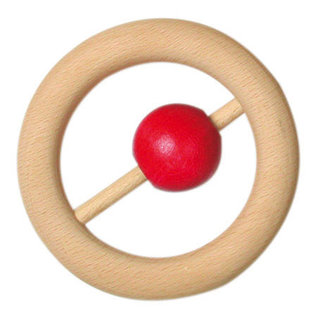 Gluckskafer Wooden Round Rattle with Red Ball by Gluckskafer