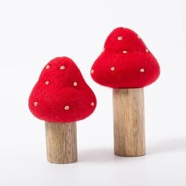Papoose Wool Felt Toad Stool with Wooden Base
