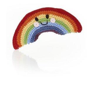 Pebble Adorable Knit Soft Cotton Rainbow Rattle