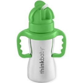 ThinkBaby Green Stainless Steel Straw Cup with Handles by ThinkBaby