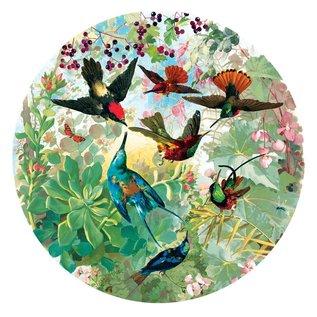 Eeboo Hummingbirds 500 Piece Round Puzzle