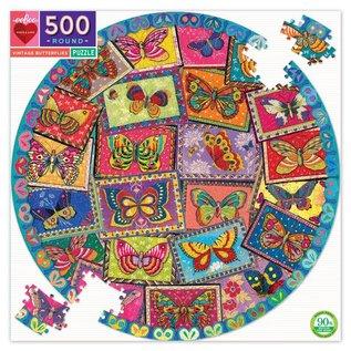 Eeboo Vintage Butterflies 500 Piece Round Puzzle