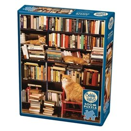 Cobble Hill Gotham Book Store Cats 500 Piece Puzzle