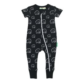 Parade Elephant Print 2-Way Zip Organic Cotton Romper by Parade