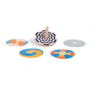 Moulin Roty Optical Illusion Wooden Spinning Top Set