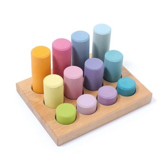Grimms Wooden Sorting Board with Rollers, Pastel 12 Pieces by Grimms